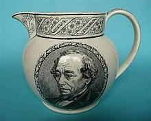 1881 Disraeli in Memoriam: a Wedgwood pottery jug printed in black, 156mm