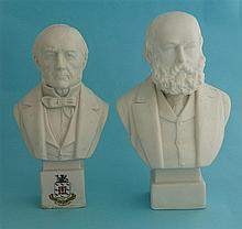 A white parian bust by Hewitt & Leadbeater depicting Gladstone, 183mm and a
