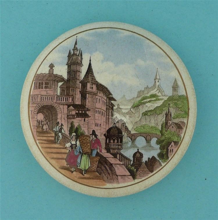 Swiss Riverside Scene (65)    pot lid, pot lids, potlid, potlids, prattware