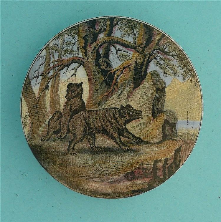 Bears on Rock (10) medium pot lid, pot lids, potlid, potlids, prattware
