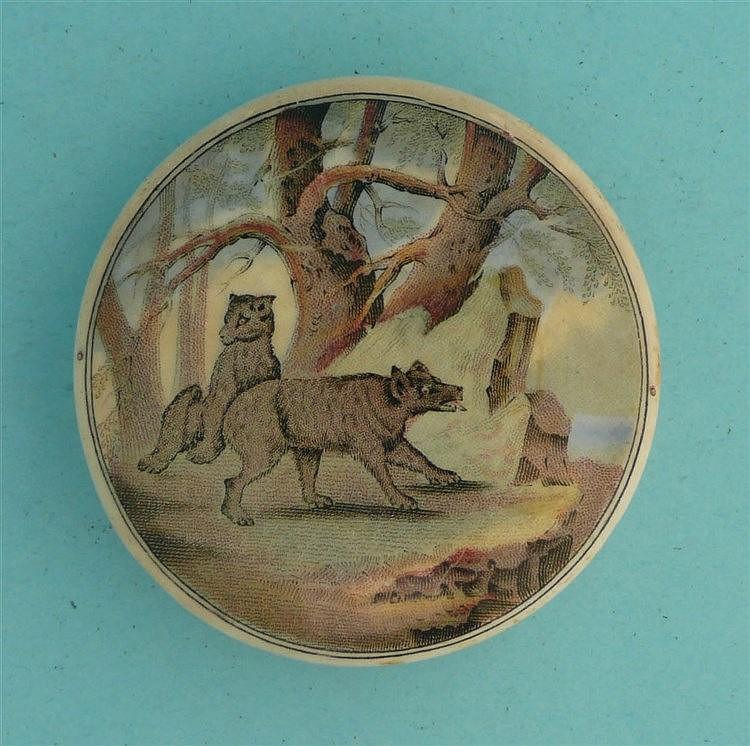 Bears on Rock (10) small    pot lid, pot lids, potlid, potlids, prattware