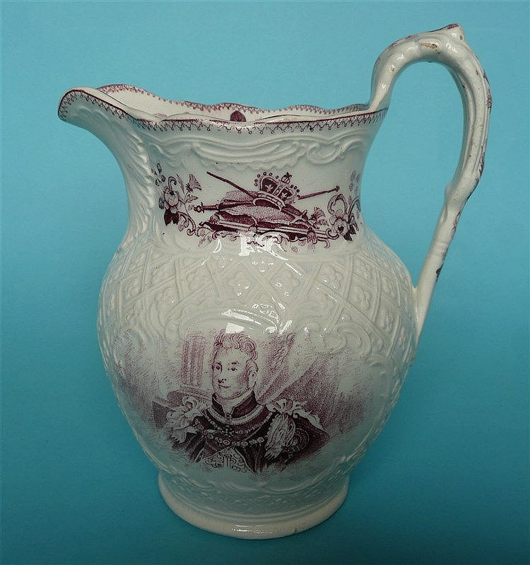 1831 Coronation: a small jug the moulded body printed with portraits in pur