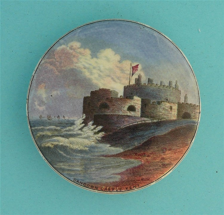 Sandown Castle (44) pot lid, pot lids, potlid, potlids, prattware