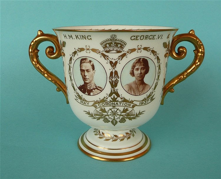 1937 Coronation: a Royal Crown Derby loving cup with sepia portraits and gi