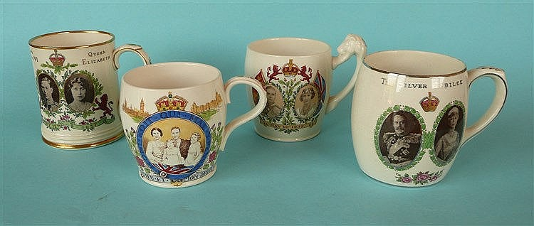 A mug for 1937 coronation retailed by Goode, two others by Copeland and ano