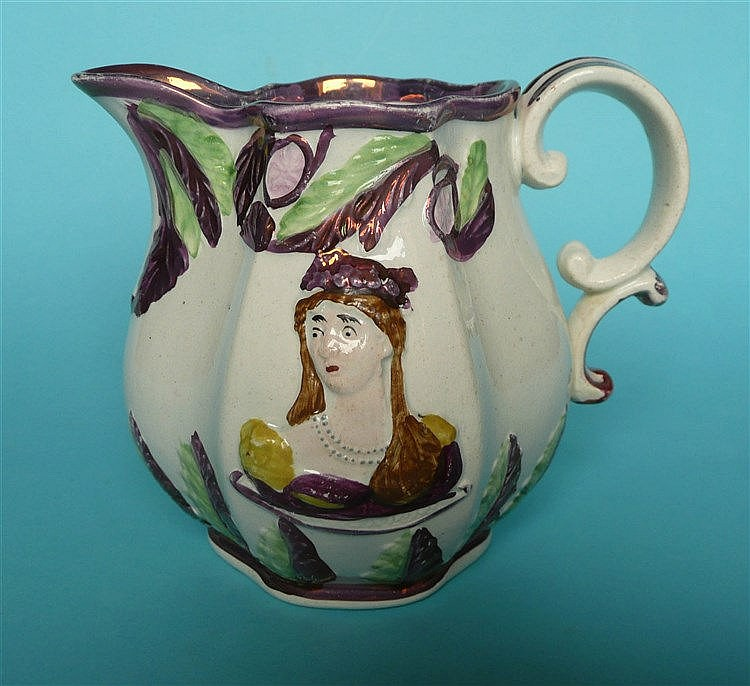 1816 Wedding: a pink lustre decorated jug of small size moulded with named