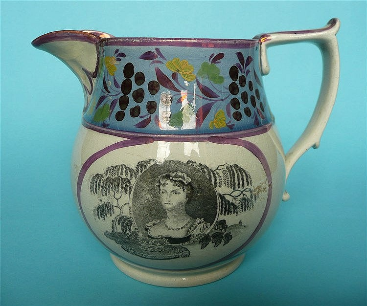1817 Princess Charlotte: a pearlware jug printed in grey with named portrai