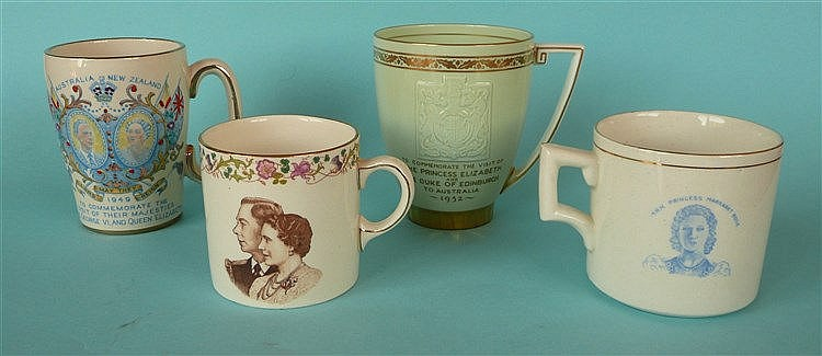 Three mugs each for 1949 visit to Australia, two with named portraits of Pr