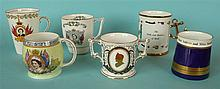 Three mugs for 1953 coronation, a Royal Crown Derby small loving cup for 19