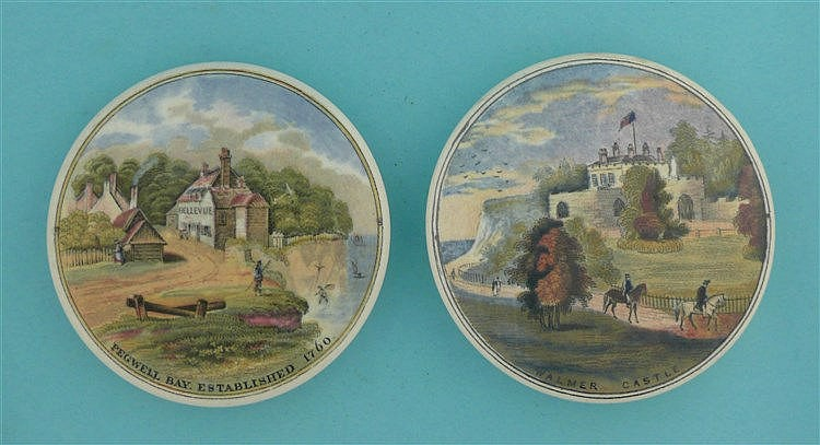 Pegwell Bay, Established 1760 (25) and Walmer Castle (45) (2) pot lid, p