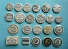 Twenty two various toothpaste lids and one base (23)    pot lid, pot lids,