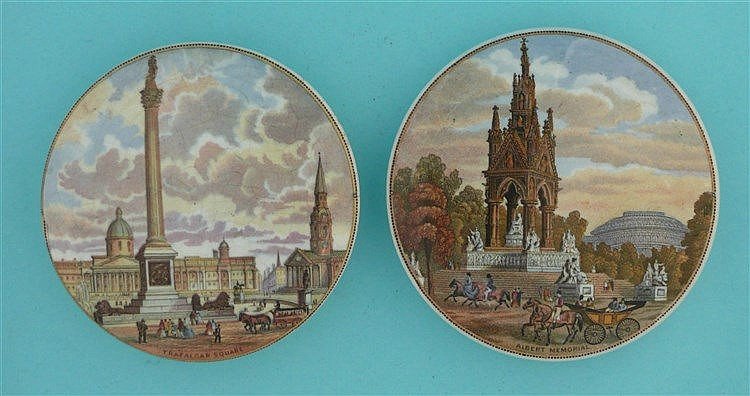 Albert Memorial (190) and Trafalgar Square (201) (2) pot lid, pot lids,