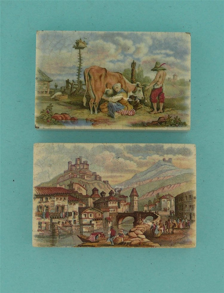 Milking the Cow (391) and Tyrolese Village Scene (397) (2)    pot lid, pot
