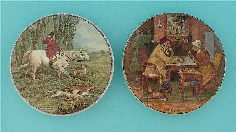 Master of the Hounds (247) and A Pair (252) (2)    pot lid, pot lids, potli