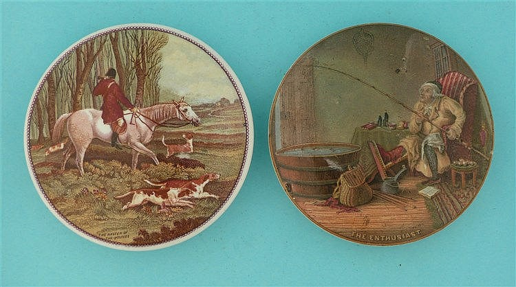 Master of the Hounds (247) and The Enthusiast (245) (2)    pot lid, pot lid