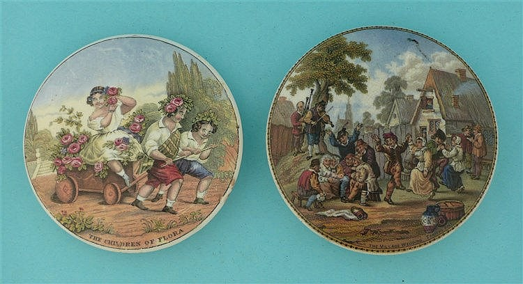 The Children of Flora (237) and The Village Wedding (240) (2) pot lid, p