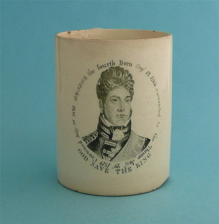1821 Coronation: a rare creamware mug printed in black with an inscribed po