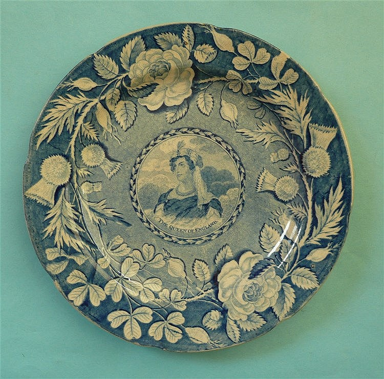 Queen Caroline: a pearlware plate printed all over in blue with a central n
