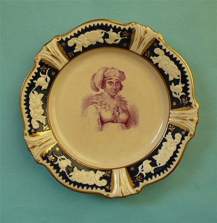 Queen Caroline: a dessert plate the floral moulded blue ground and gilded b