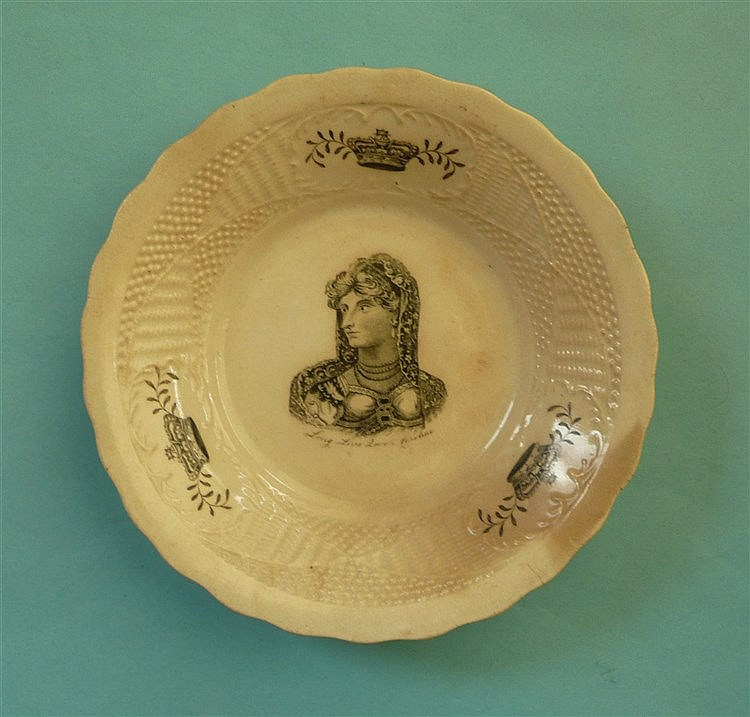 Queen Caroline: a bowl, the basketware moulded border printed in black with