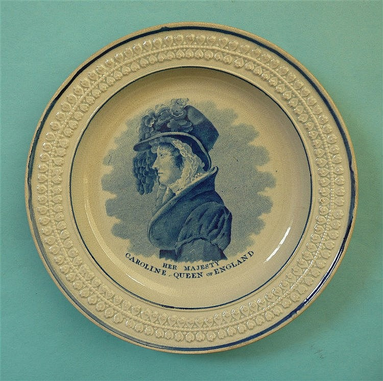 Queen Caroline: a pottery nursery plate with moulded border printed in blue