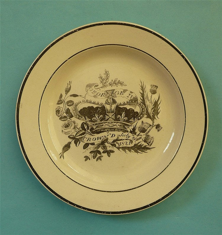 1821 Coronation: a Hartley Green Leeds Pottery side plate printed in black
