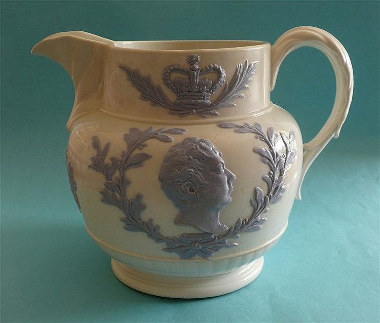 1821 Coronation: a large white pottery jug applied in lilac with profiles c