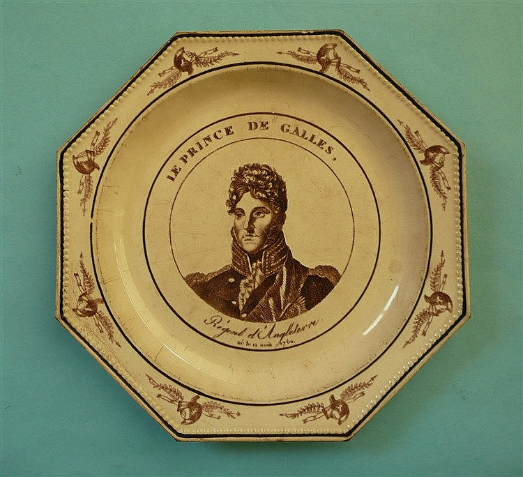 George IV: an octagonal French pottery plate printed in brown with a named