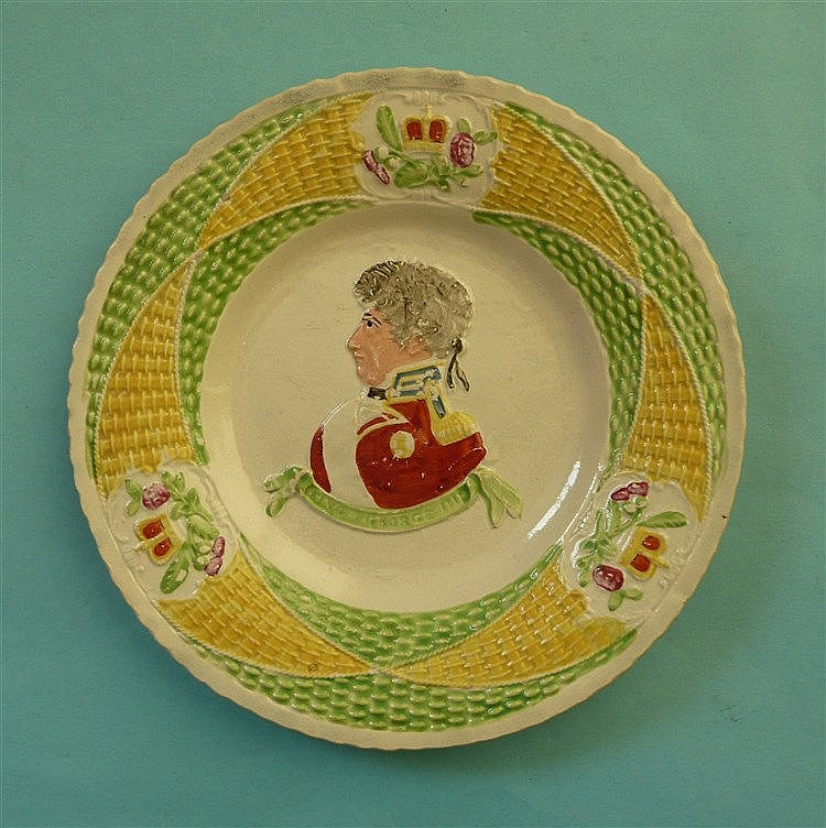 George IV: a colourful pearlware plate, probably Scottish, moulded with a n