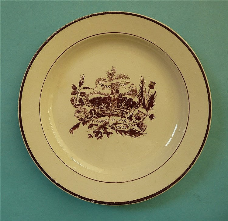 1821 Coronation: a Hartley Green Leeds Pottery plate printed in dark brown,