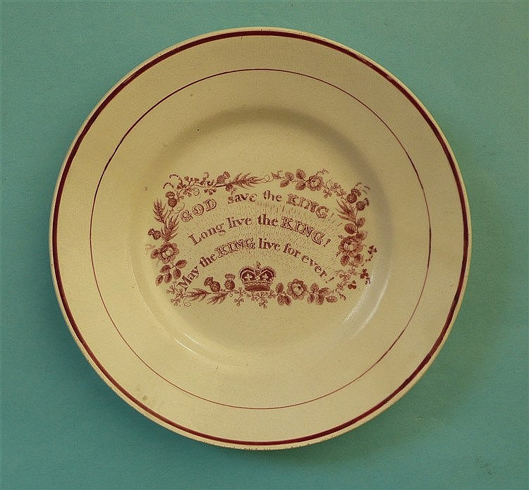 George IV: a pottery plate printed in pink with loyal inscription, circa 18