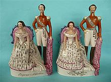 Napoleon III and Eugenie: two Staffordshire pottery portrait groups, one na