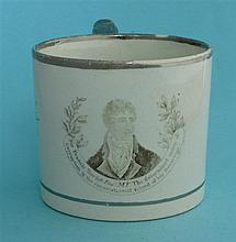 Sir Francis Burdett: a cylindrical pearlware mug decorated in silver lustre