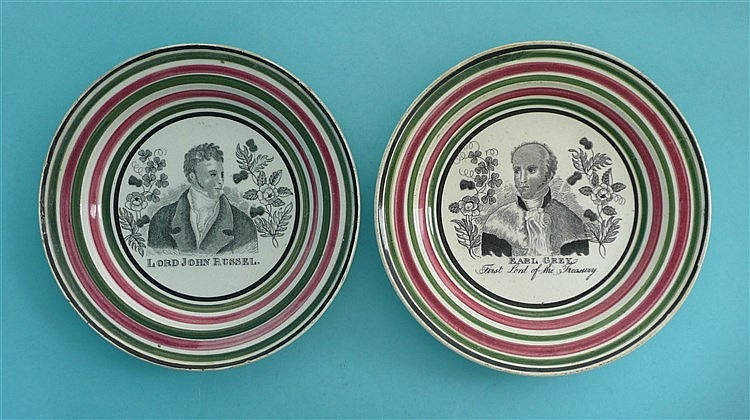 Earl Grey and Lord Russell: a small pair of plates, the colourful borders l