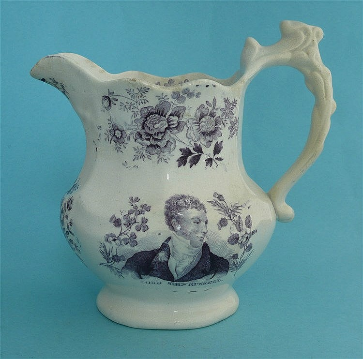 1832 Reform: a lobed pottery jug printed in purple with a named portrait of