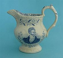 1832 Reform: a moulded pottery jug printed in blue with named portraits of