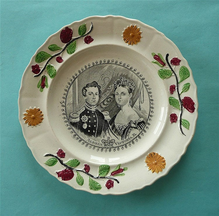 1840 Wedding: a nursery plate with colourful floral and foliate border prin