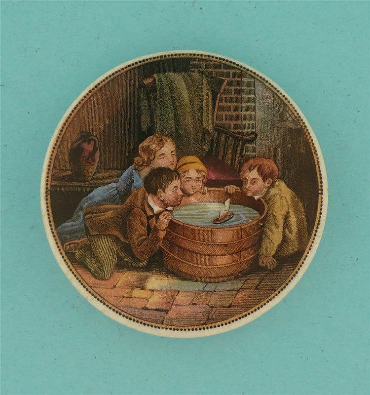 Children Sailing Boats in Tub (263)    pot lid, pot lids, potlid, potlids,