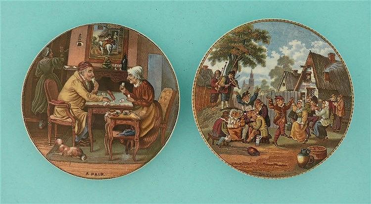 A Pair (252) The Village Wedding (240) (2) pot lid, pot lids, potlid, po