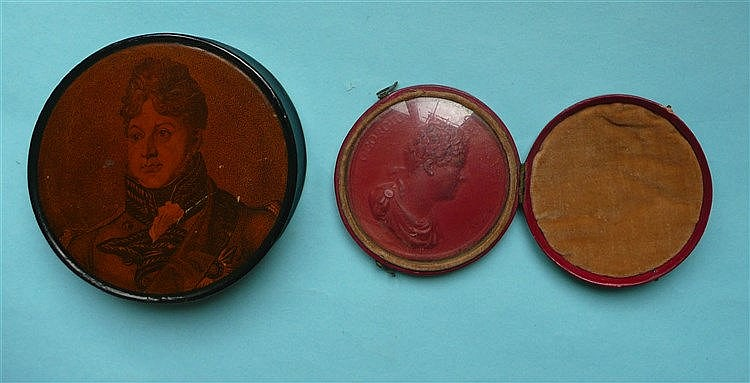 George IV: a circular papier-mâché snuff box the cover with a portrait and