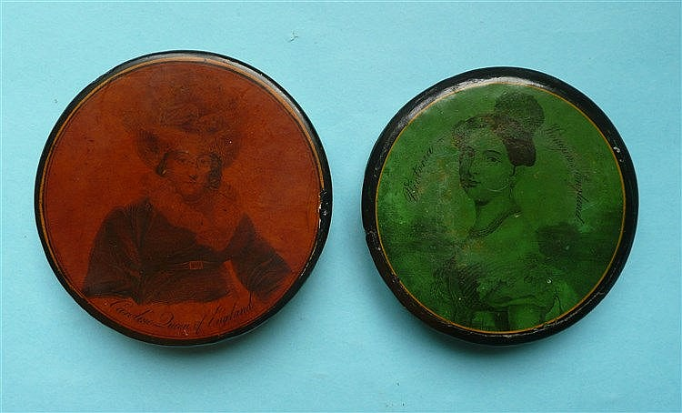 A circular papier-mâché snuff box the cover with a named portrait of Queen