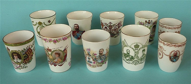 1911 Coronation: eight various beakers and two for 1919 Peace (10) comme