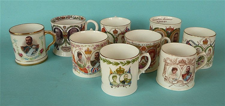 1911 Coronation: nine various mugs (9)    commemorative, commemoratives, co