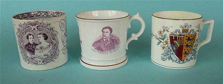 1863 Wedding: a porcelaineous mug printed in pink with named portraits anot