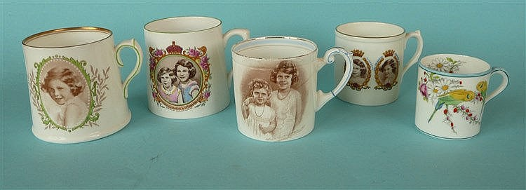 A Royal Doulton tapering porcelain mug with named portrait of Princess Marg