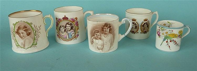 A Royal Doulton tapering porcelain mug with named portrait of Princess Marg