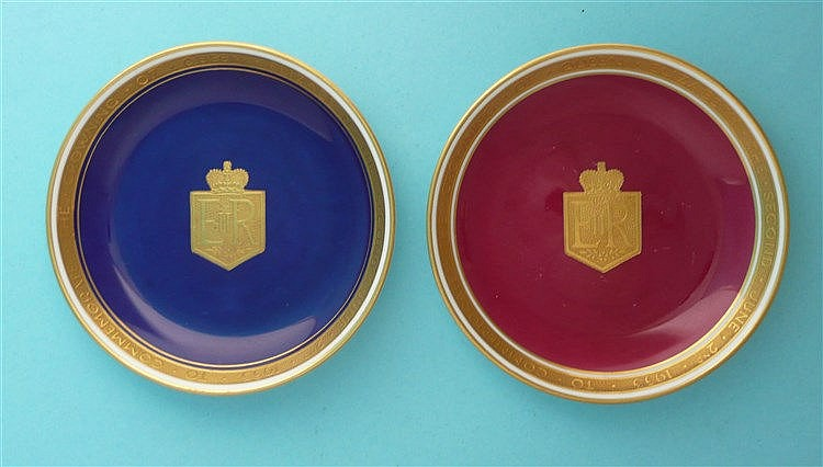 1953 Coronation: a rare pair of Minton dishes, one claret ground one blue,