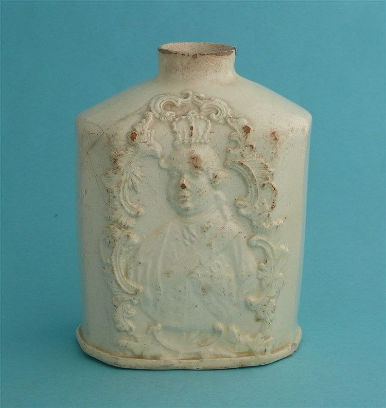George III and Charlotte: a creamware teapoy, the sides moulded with crowne