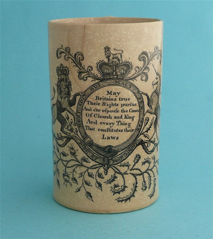 Church and King: a slender cylindrical creamware mug printed in black with