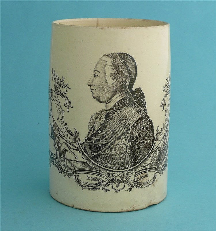 George III: a rare, late-18th century creamware tankard printed in black wi
